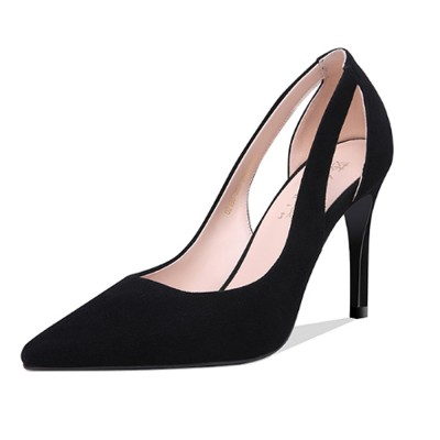 best value wholesale price latest discount Women Black High Heels, Classic Pointed Toe Stiletto High-heel Shoes,  Genuine Leather Pumps for Office, Wedding,Party, Lady Heeded Shoes
