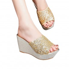 2019 Latest Platform Shoes in Vogue, Fashionable Glittering High Quality Wedge Heel Sandals with Tinsel