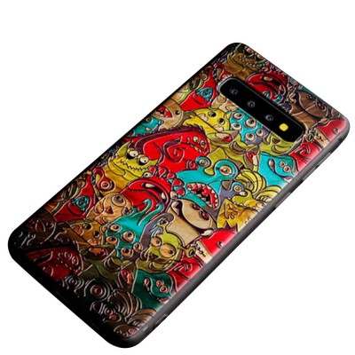 Creative Stylish Carton 3D Emboss Phone Case, Soft Silicone Colorful Painting Phone Skins, Full Protection Phone Cover for Samsung S10+ S10e S10 Plus with Rope
