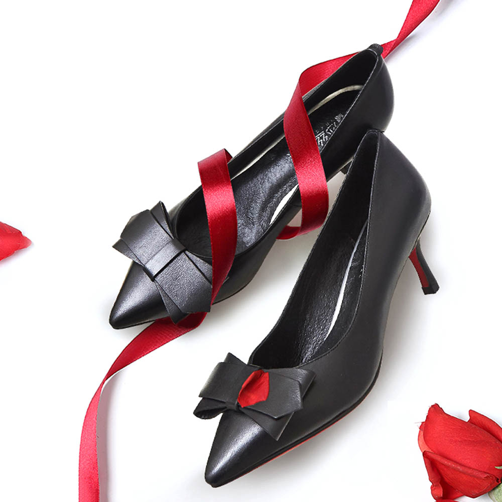 Genuine Leather Stilettos with Low-cut Uppers for Women, 2019 New Korean Style Moderate Kitten Heels Shoes for Wedding, Business, Party