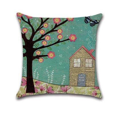 Abstract Tree Pattern Cushion Cover with Digital Printing, Skin-friendly Back Cushion Case for Vehicles, Sofa, Office Pillow Case