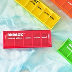 ANABOX Portable Moisture-Proof Small Pill Box Weekly-packed Separate Medical Case