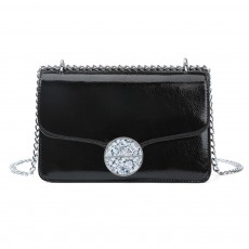 Marble Buckle Metal Chain Square Bag, High-quality PU Leather Handbag with Strap, Black Slanted Straddle Bag Single Shoulder Bag