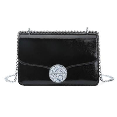 Marble Buckle Metal Chain Square Bag, High-quality PU Leather Handbag with Strap, Black Slanted Straddle Bag Single Shoulder Bag