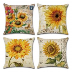 Sunflower Series Hand-painted Pillow Case, Back Leaning Cushion Cover for Home, Office, Car Used Pillow Linen Cover