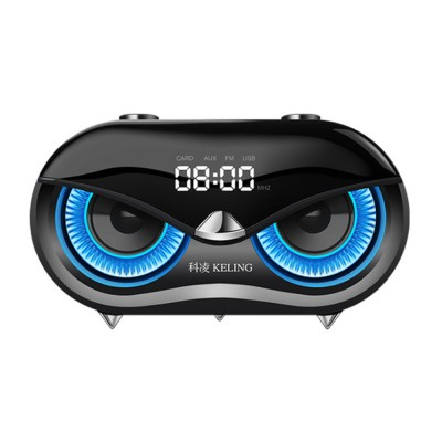 KELING K5 Wireless Bluetooth Speaker, Portable Desktop Home Speaker with Alarm Clock, FM Free Calls Subwoofer, Bionic Owl Hawk-eye Design Audio for iPhone, iPad