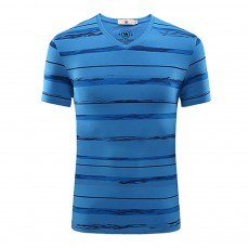Stripe-designed V-collar T-shirt, Summer Casual Style Short Sleeve Tops, Breathable Gentleman Wear Men's Tops