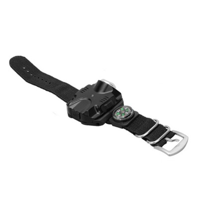 LED Wrist Light for Outdoor Running Camping Hand Flashlight with Compass Power Indicator Wrist Band Light