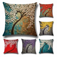 Pillowcase for Car, Office, Sofa, Back Cushion Case with Three-Dimensional Oil Painting Pachira Macrocarpa Flower, Tree Pattern Linen Back Cushion Cover
