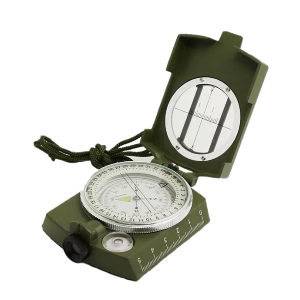 High Precision Compass for Outdoor Use,  American Style Multifunctional Zinc Alloy Made North Arrow Army Green Color Outdoor Equipment