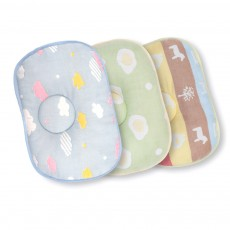 Correct Baby Head Pillow for 0-6 Months Baby, Carton Pattern Six Cotton Layers Finalize Newborn Pillow