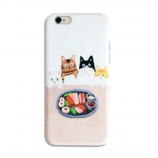 Foodie Cat Phone Cover for iPhone, with TPU Material, Four Cats Stared At the Food Cute Mobile Phone Shell