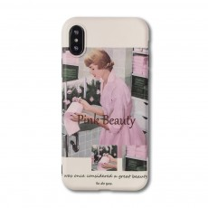 Retro Pink Girl Illustration Phone Case for iPhone 8 7, Elegant and Delicate Protective Case for iPhone XS Max XR X 7 Plus 8 Plus