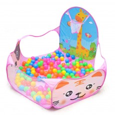 Cartoon Animal Patterns Ocean Ball Pool 1.2-meters, Shooting Basket Ball Box for Children Foldable Ball Pool
