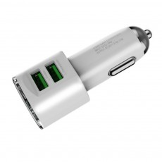 Dual USB 3.4A Zinc Alloy Mobile Phone Tablet Data Cable Car Charger with Intelligent Protection