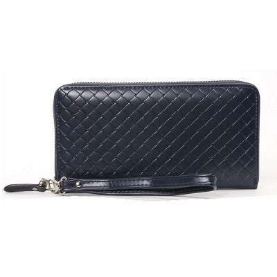 Male Long Plaid Leather Purse Money Clip with Hardware Zipper Design, Stylish & Durable Handbag for Men