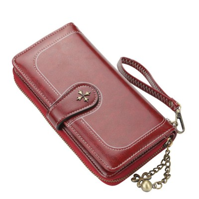 Baellerry PU Purse Fashion Classic Multifunctional Personality Wallet for Women Buckle Copper Zipper ID Card Phone Handbag With Chain