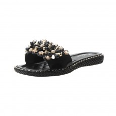 Elegant Fancy Flower Rhinestone Pearl Decoration Lady Sandals, Soft Comfortable PU Leather Fashion Sandals for Women
