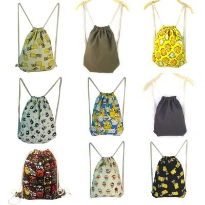 Cartoon Canvas Drawstring Schoolbag, Cactus Pattern Canvas Bundle Pocket for Students