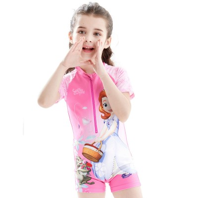 Cute Carton Frozen Elsa Painting Girl Swimwear, Skin-friendly Quick-dry Polyester Children Beach Surfing Wetsuit