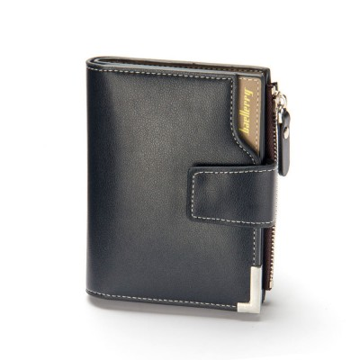 Men's Tri-fold PU Leather Handbag with Zipper, Multi-functional Organizer Card Cash Wallet for Men