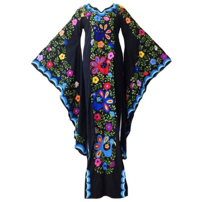 Printed Slit Dress with V-neck & Flared Sleeve Design Long Sleeve, Bohemian Dress for Women