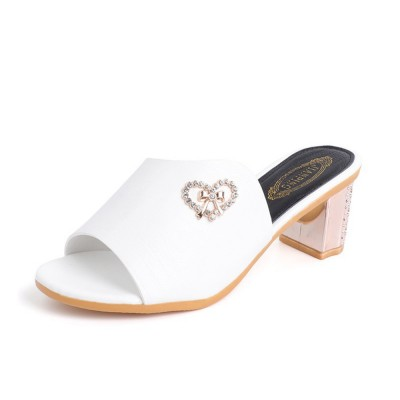 Minimalist Elegant Rhinestone Decoration High-heeled Sandals, Comfortable Skin-friendly PU Leather Chunky Heels Sandals Outdoors
