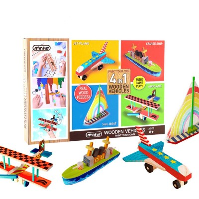 4 in 1 DIY Wood Education Plane Boat Tank Vehicle Model Set, Creative Assembled Male And Female Puzzle Graffiti Toys for Kids
