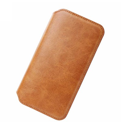 Ultra-soft Genuine Leather Crash-resistant Phone Case Pouch with Soft Shell Edge Designed with dormancy Function & Card Slot for iPhone 6.5 inch, 6.1 inch, 5.8 inch