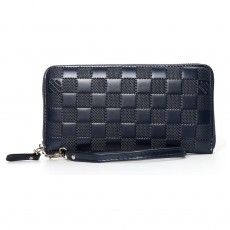 Long Plaid Leather Purse Wallet with Hardware Zipper Design, Stylish & Durable Handbag for Men