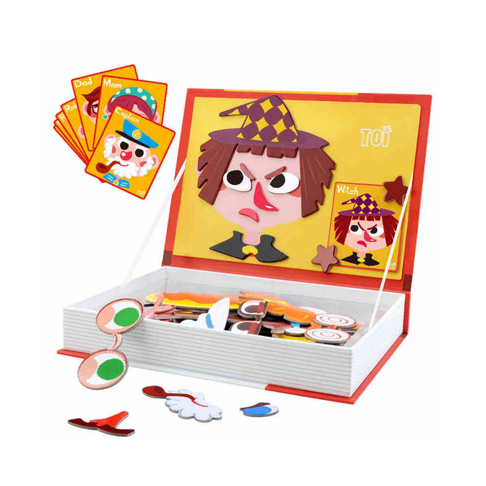 Magnetic Crazy Face Change Expression Fantasy Puzzle Fridge Sticker Toys Children Book Early Educational For Kids