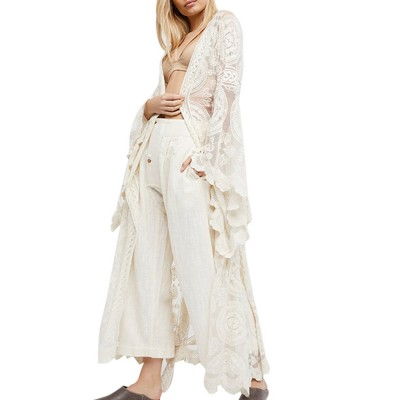 Creative Delicate Crochet Lace Polyester Long Cardigan, Fashion Sexy Bohemian Style Ladies Breach Evening Dress