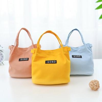 Canvas Bag Environmental Protection Portable Folding Simple Style Hand Bag Compartments Bento Bag