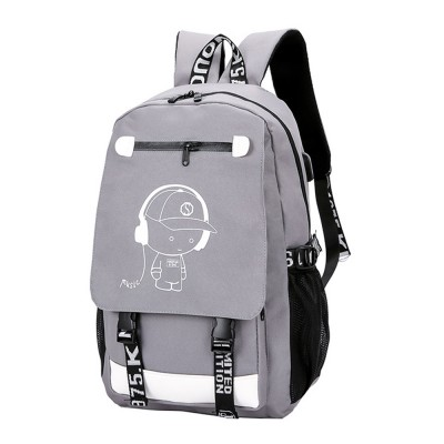 Stylish Luminous Carton Painting Casual Backpack, Soft Canvas Oxford Cloth Outdoors Student Shoulder Bag