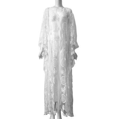 Delicate Fancy Crochet Hollow Lace Grenadine Long Dress, Sexy Fashion Flower Model Ladies Breach Evening Dress