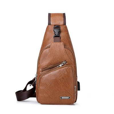Minimalist Fashion Casual Outdoors Men Chest Bag, Ultra-soft Waterproof PU Leather Business Sport Shoulder Bag with Charging Port Earphone Hole