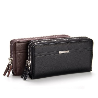 Large Capacity PU Leather Clutch Bag Wallet for Men, Double Zipper Multiple Card Positions Fashion Handbag Phone Bag