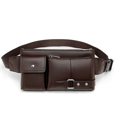 Minimalist Soft PU Leather Functional Men Waist Bag, Business Outdoors Sport Waist Shoulder Bag Wallet