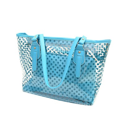 Fresh Color Tote Bag for Women Summer Use Jelly Handbag Wave Point Waterproof PVC Beach Used Crystal Single Shoulder Held Bag