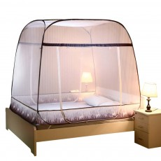 Polyester Fiber Breathable Bed Net, Prevent Drop U-Shape Mosquito Bar, Three Open Door Free-installation Round Top Stable Mosquito-curtain