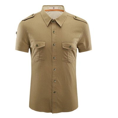 Polo Shirt Cotton Material with Metal Buckle Blouse, Peaked Lapel Comfortable Short Sleeve for Men Shirt