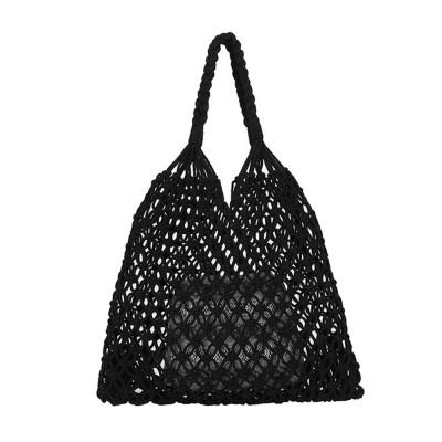 Handmade Woven Bag for Women, Rope Hollow Mesh Straw Bag, Beach Single Shoulder Bag Handbag 2019 New