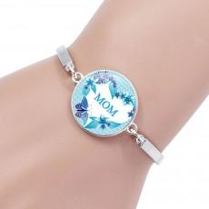 Adjustable Bracelet Glass Round Shape Pendant for Mother, Glass Bracelet for Mom Elegant Mother's Day Gift