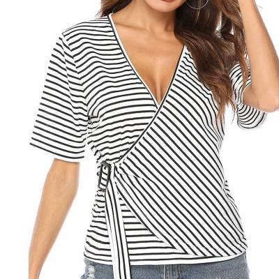 V-Neck Stripe Tees with Adjustable Buckle, Slimmer Waist Middle Sleeve T-shirt for Women Lady 2019 Summer Wear