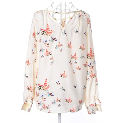 Women's V-neck Long-sleeve Chiffon Shirt, Ladies Shirt with Front Strap for Spring & Autumn, Hollow Back Shirt