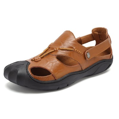 Genuine Leather Men's Sandals, Outdoor Sports Shoes Beach Shoes for Casual Activities, Soft Sole Trending Sandals for Men