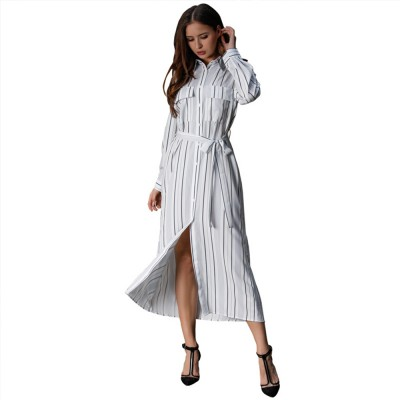Spring Autumn Dress for Women, Long Sleeve Pocket Lace-up Long Dress, Fashion Stripe Casual A-line Lattice Skirt 2019