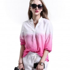 Women Button-down Shirt with Deep V-neck, Long Sleeves Ombre Shirt for Girls Ladies