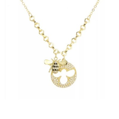 Lovely Little Bee Collarbone Pendant with Artificial Diamond, 925 Sterling Silver Chain with Pendant, Adjustable Dainty Necklace