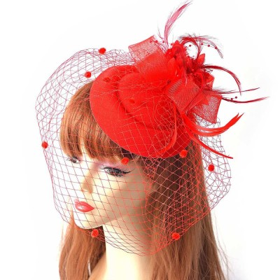 Party Hair Accessories Cocktail Hat, Elegant Hair Accessories for PROM & Party, Vintage Bow Feather Net & Veil Hat for Ladies